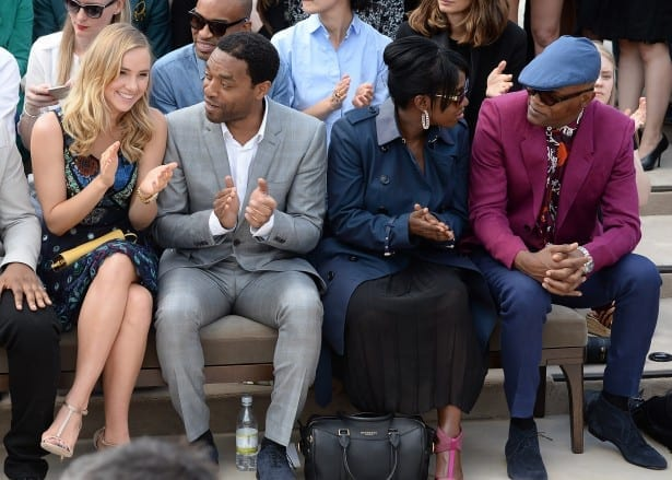 in the front row at Burberry Menswear Spring/Summer 2016 show at Kensington Gardens on June 15, 2015 in London, England.
