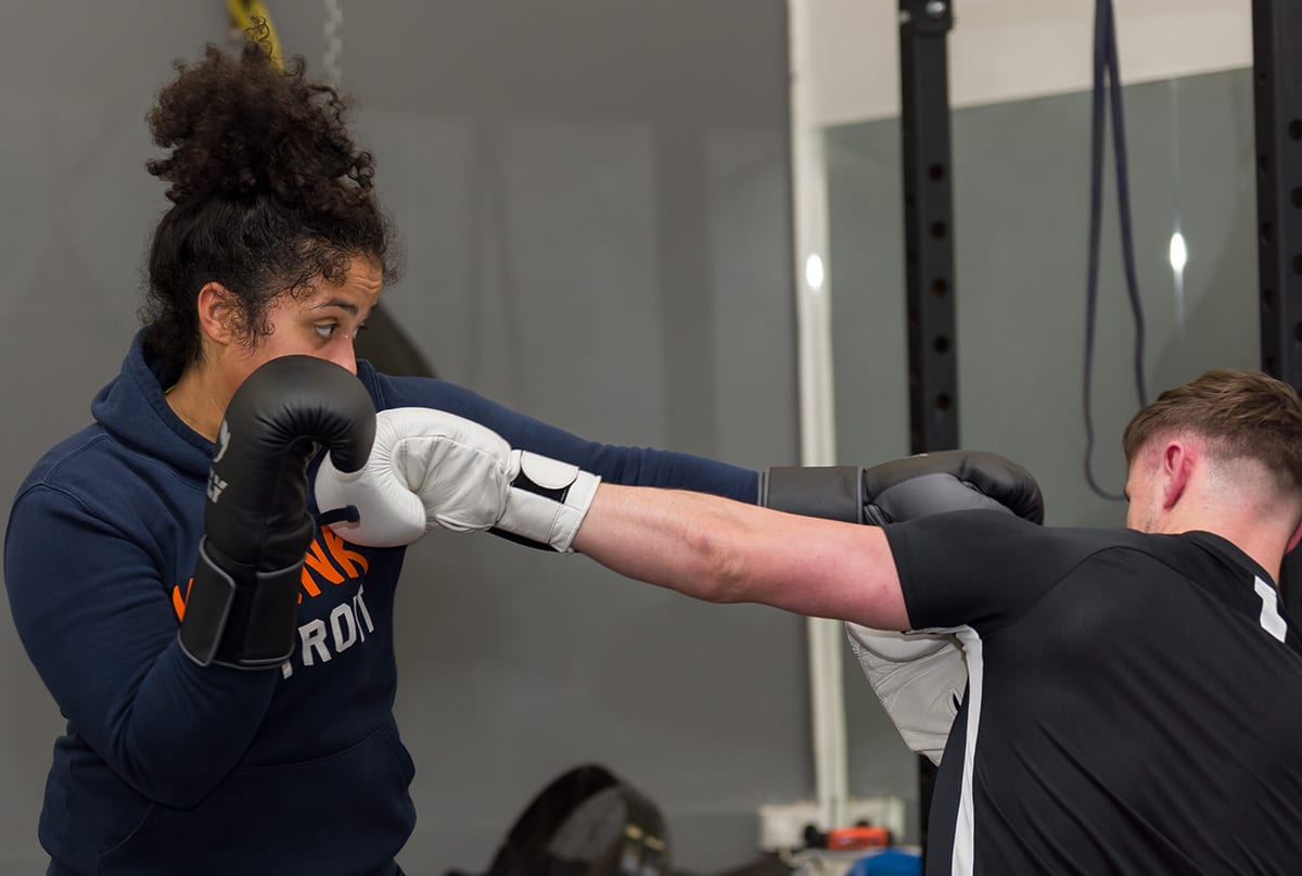 Light sparring during a boxing session