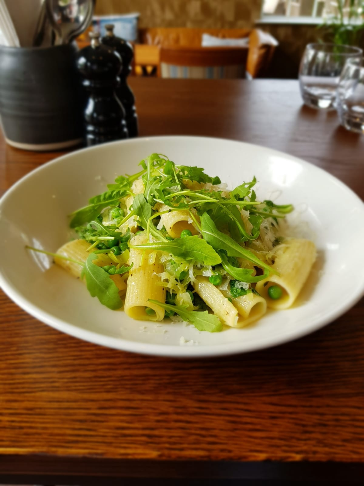 Rigatoni Pasta, Peas, Leeks, Mint & Gran Moravia - Everything on the new menu is cooked fresh using the best quality