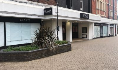 Closed retailer Beales on Bedford High Street. High Streets are in danger.